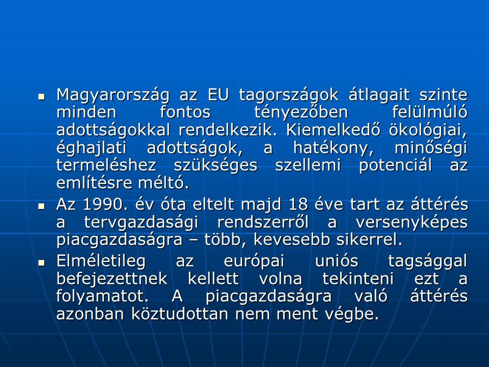 Magyarország az EU tagországok átlagait szinte minden fontos tényezőben felülmúló adottságokkal rendelkezik. Kiemelkedő ökológiai, éghajlati adottságok, a hatékony, minőségi termeléshez szükséges szellemi potenciál az említésre méltó.
