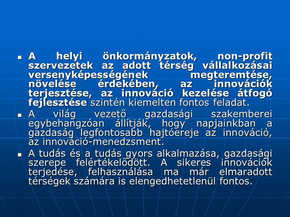 A helyi önkormányzatok, non-profit szervezetek az adott térség vállalkozásai versenyképességének megteremtése, növelése érdekében, az innovációk terjesztése, az innováció kezelése átfogó fejlesztése szintén kiemelten fontos feladat.