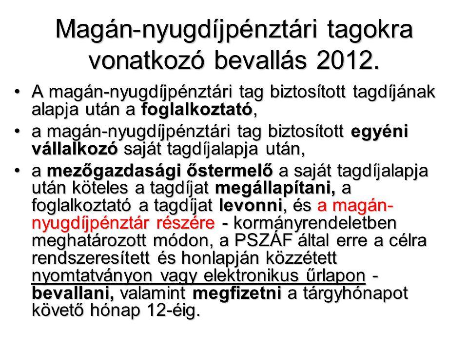 Magán-nyugdíjpénztári tagokra vonatkozó bevallás 2012.
