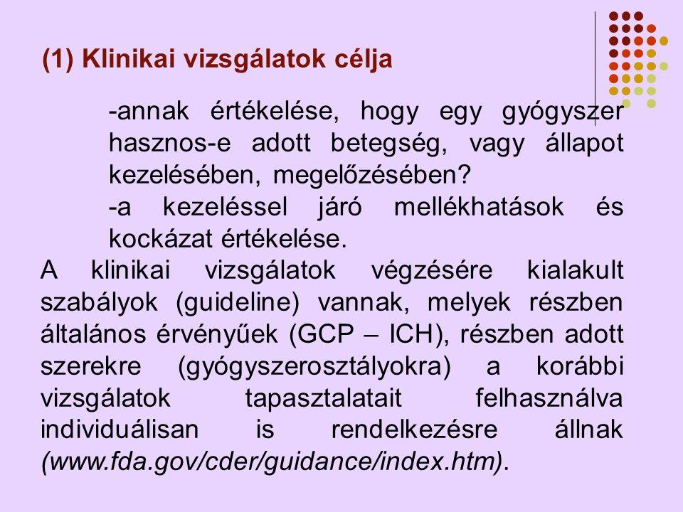 (1) Klinikai vizsgálatok célja