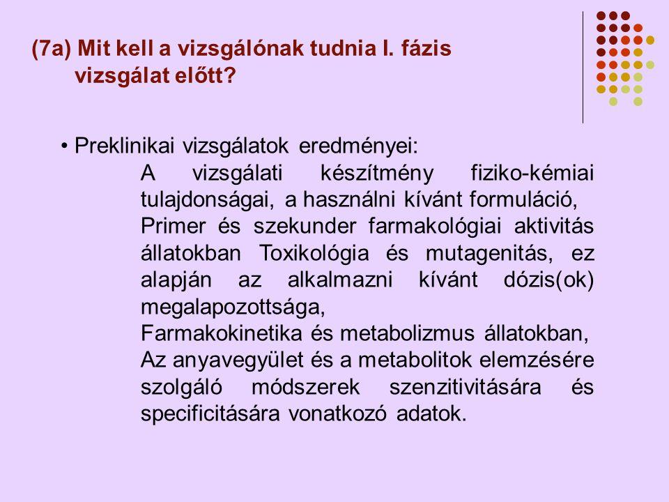 (7a) Mit kell a vizsgálónak tudnia I. fázis vizsgálat előtt