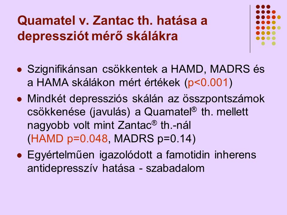 Quamatel v. Zantac th. hatása a depressziót mérő skálákra