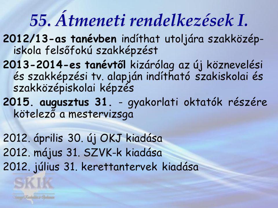 55. Átmeneti rendelkezések I.