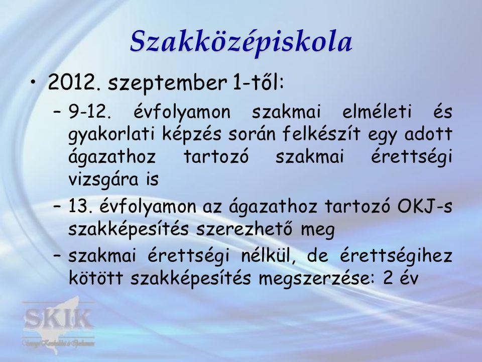 Szakközépiskola 2012. szeptember 1-től: