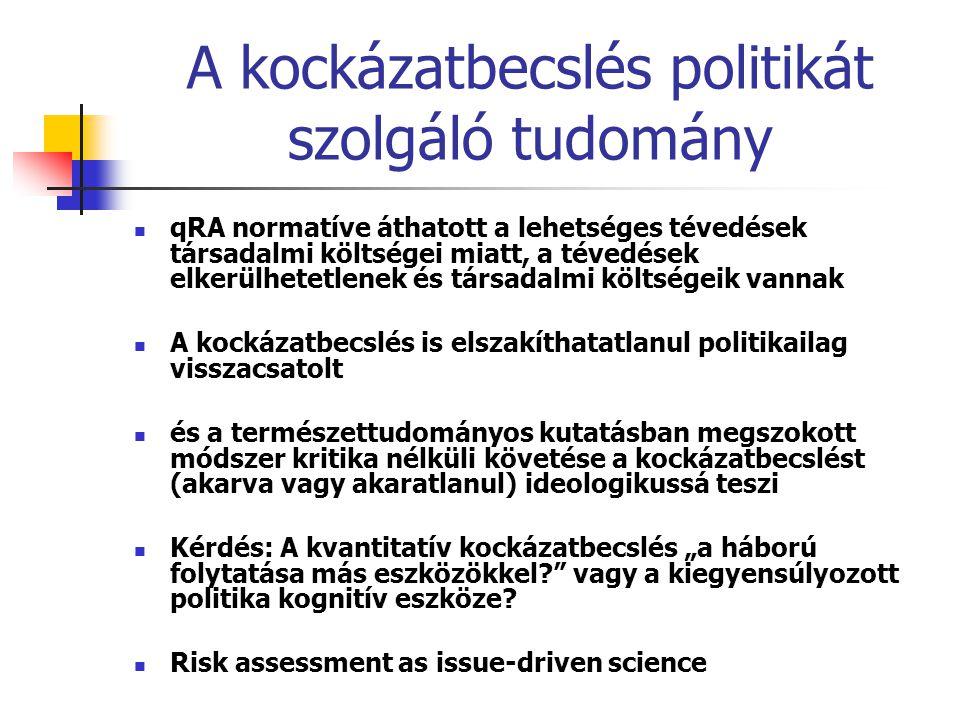 A kockázatbecslés politikát szolgáló tudomány