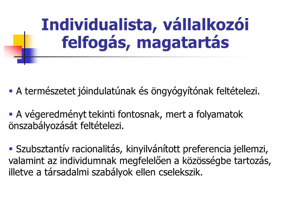 Individualista, vállalkozói felfogás, magatartás