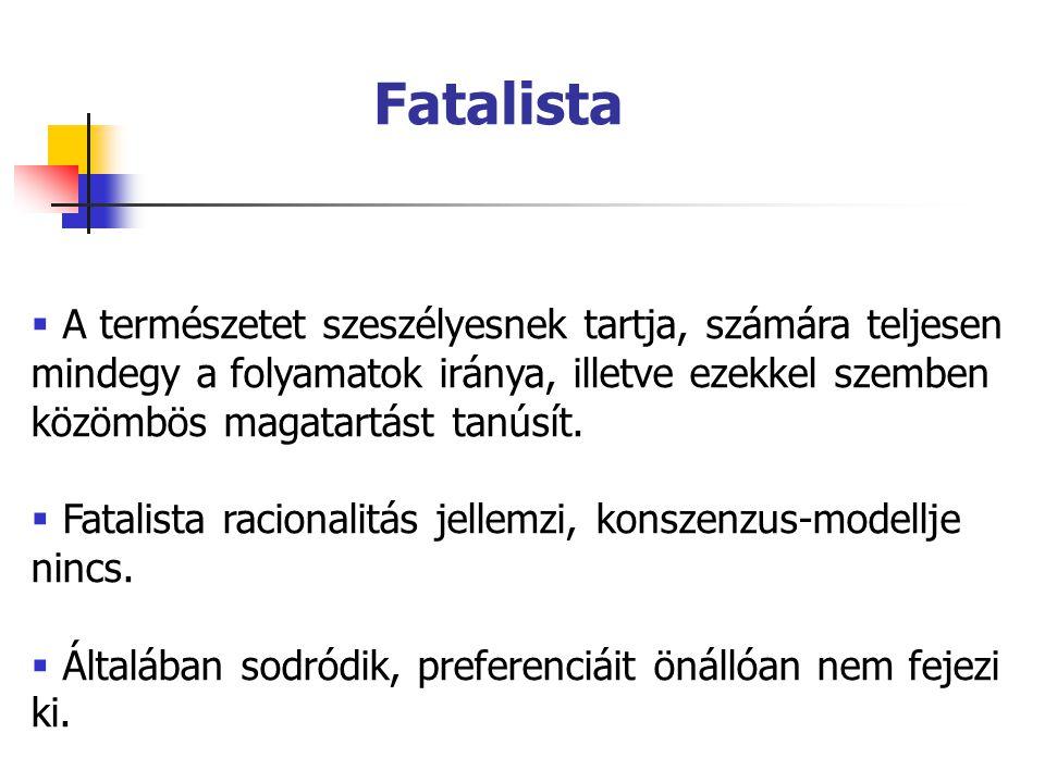 Fatalista A természetet szeszélyesnek tartja, számára teljesen mindegy a folyamatok iránya, illetve ezekkel szemben közömbös magatartást tanúsít.