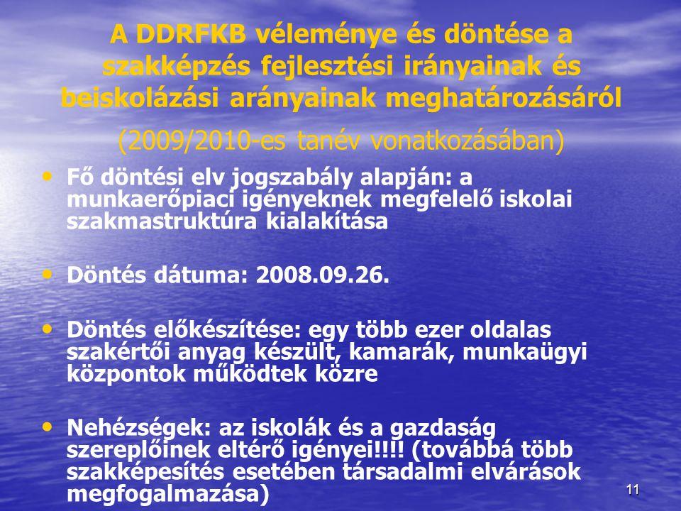 A DDRFKB véleménye és döntése a szakképzés fejlesztési irányainak és beiskolázási arányainak meghatározásáról (2009/2010-es tanév vonatkozásában)