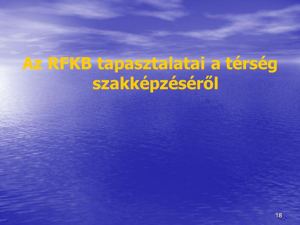 Az RFKB tapasztalatai a térség szakképzéséről