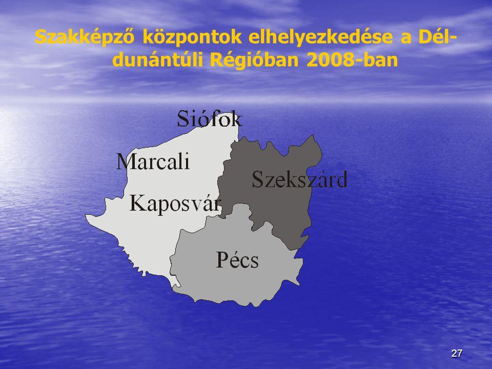 Szakképző központok elhelyezkedése a Dél-dunántúli Régióban 2008-ban