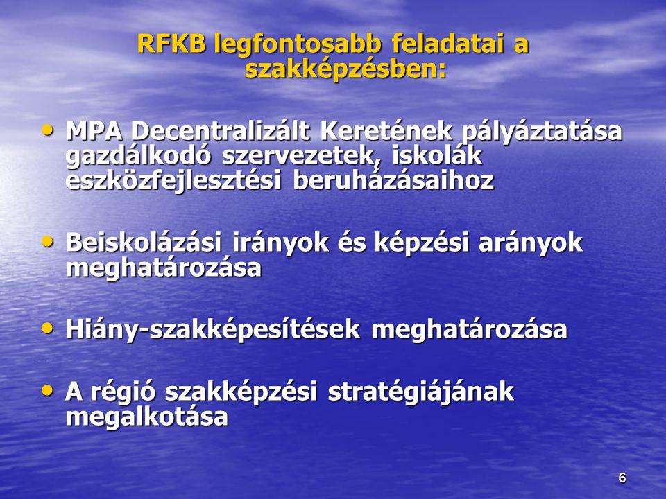 RFKB legfontosabb feladatai a szakképzésben: