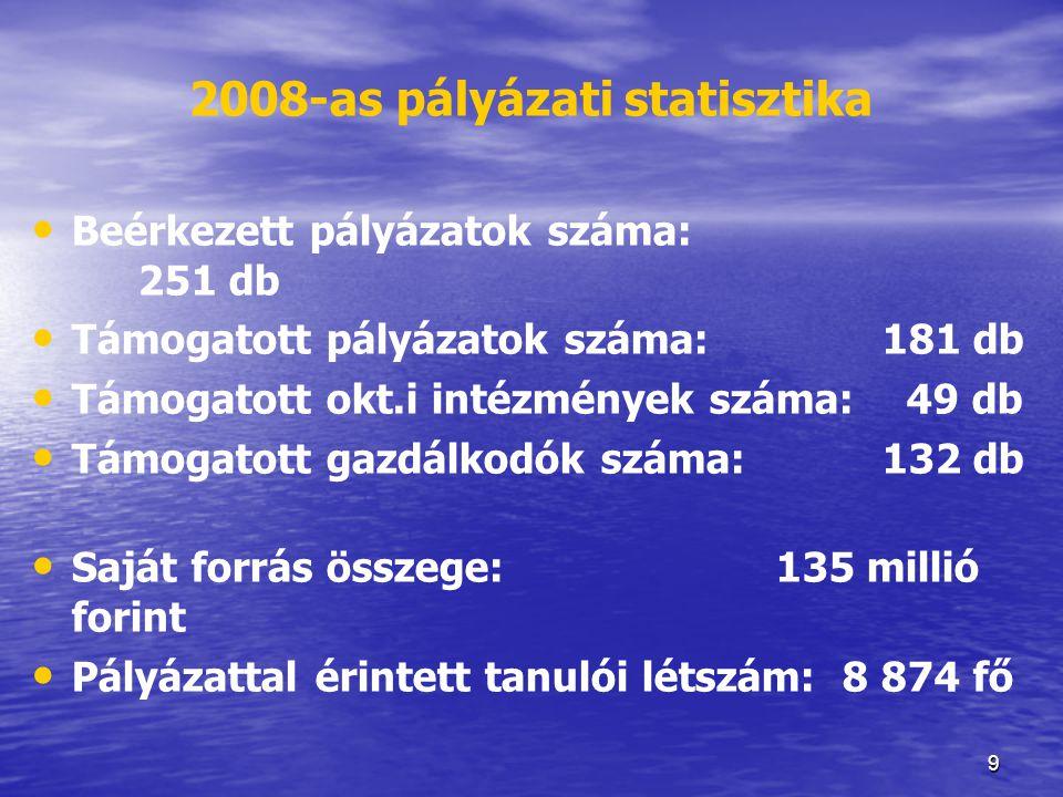 2008-as pályázati statisztika