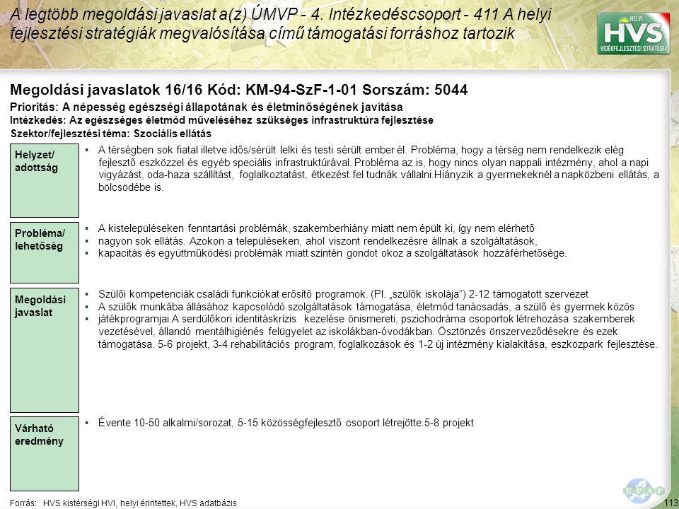 Megoldási javaslatok 16/16 Kód: KM-94-SzF-1-01 Sorszám: 5044
