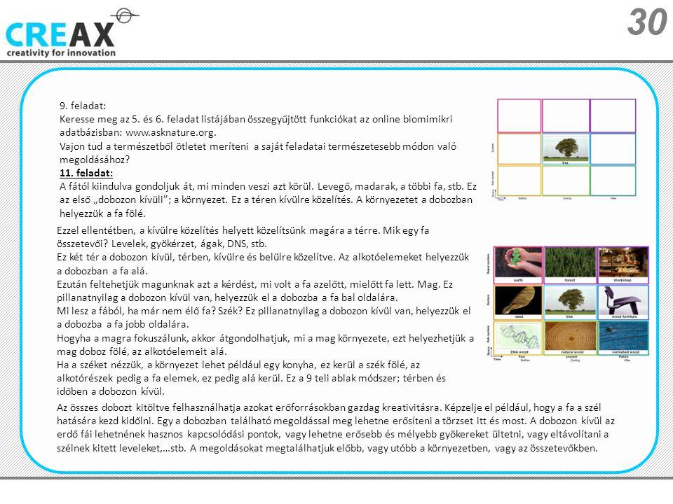 9. feladat: Keresse meg az 5. és 6. feladat listájában összegyűjtött funkciókat az online biomimikri adatbázisban: www.asknature.org.
