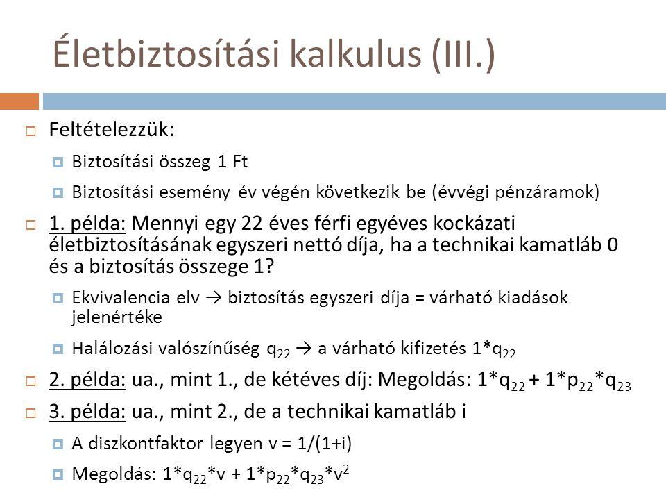 Életbiztosítási kalkulus (III.)