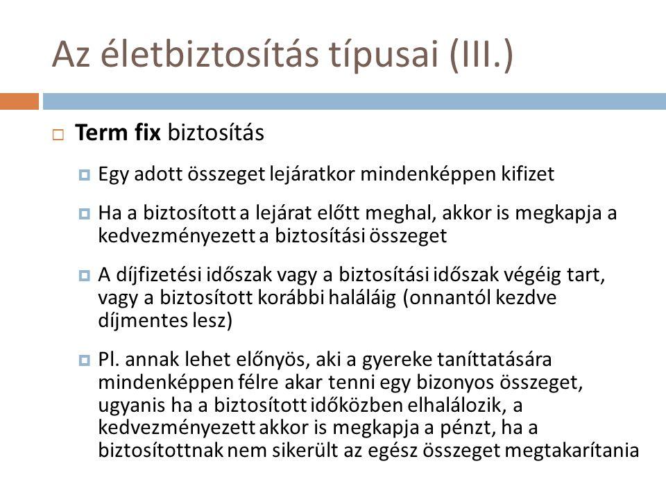 Az életbiztosítás típusai (III.)
