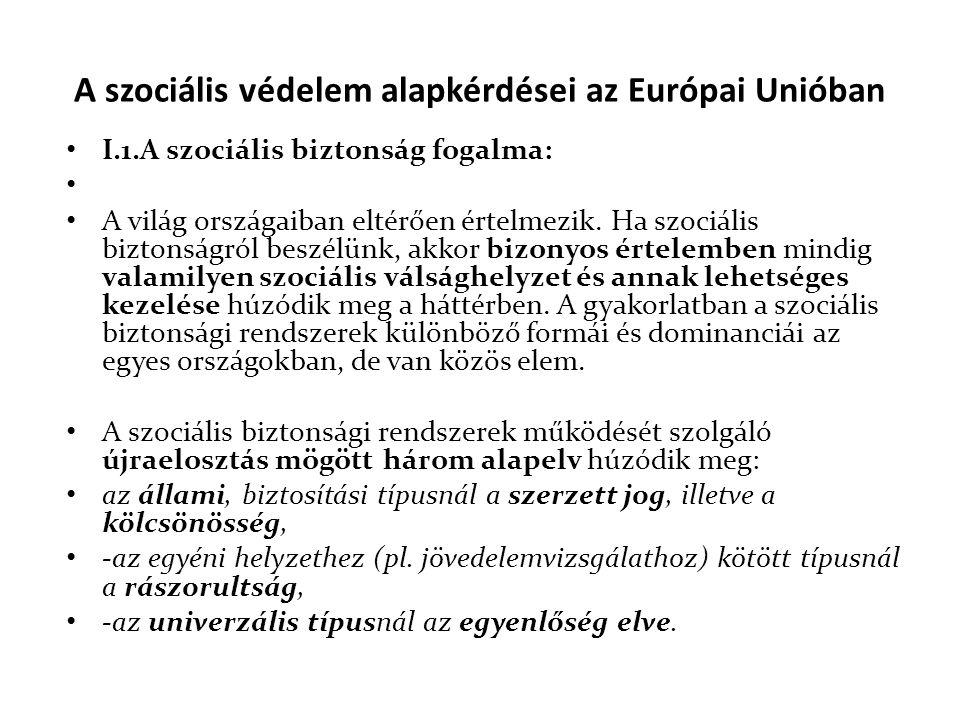 A szociális védelem alapkérdései az Európai Unióban
