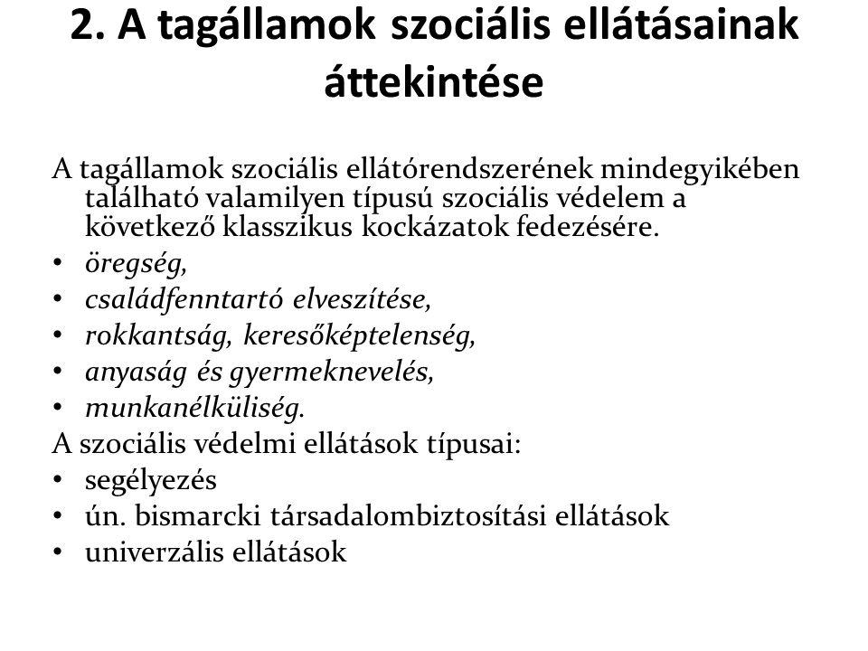 2. A tagállamok szociális ellátásainak áttekintése