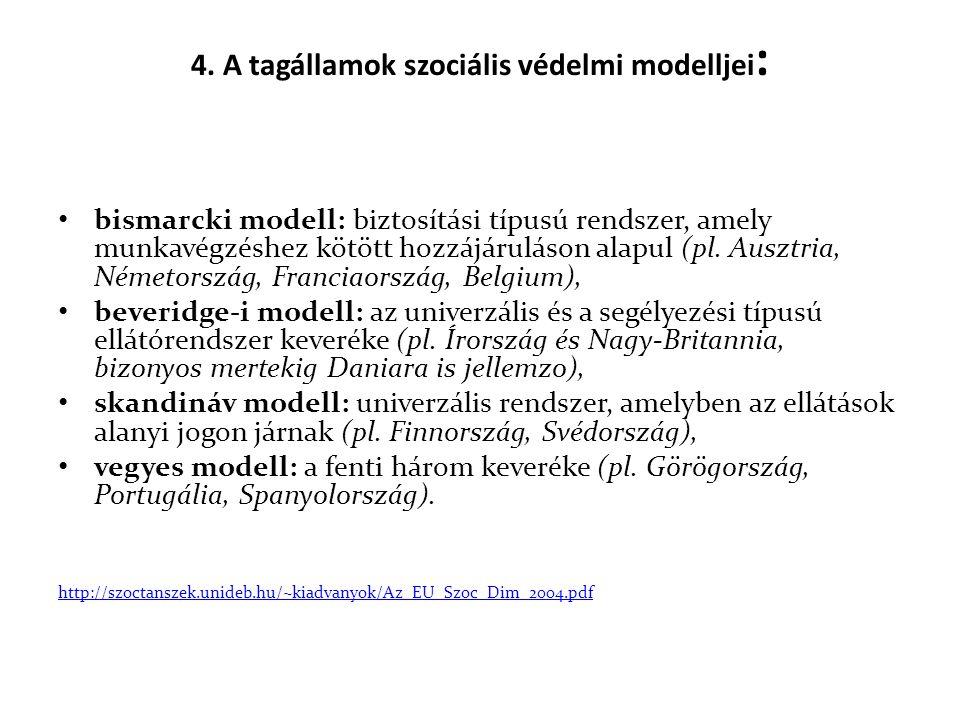 4. A tagállamok szociális védelmi modelljei: