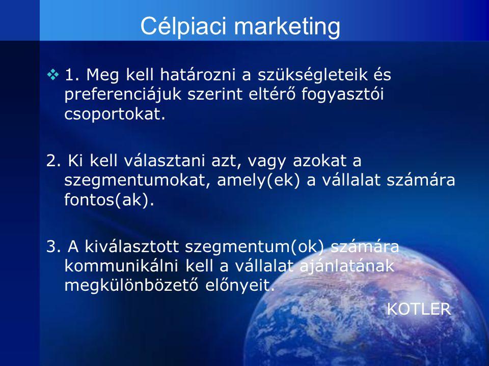 Célpiaci marketing 1. Meg kell határozni a szükségleteik és preferenciájuk szerint eltérő fogyasztói csoportokat.