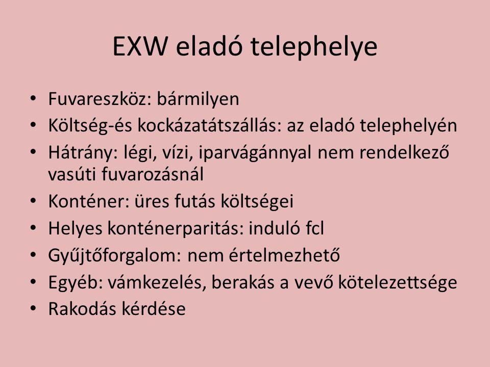 EXW eladó telephelye Fuvareszköz: bármilyen