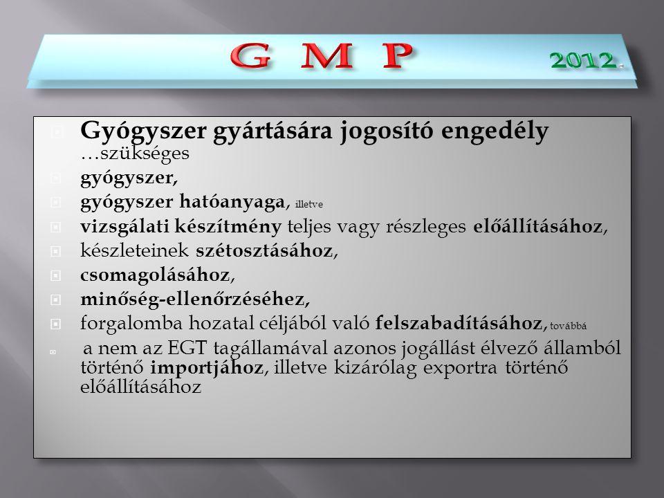 G M P 2012. G M P Gyógyszer gyártására jogosító engedély …szükséges