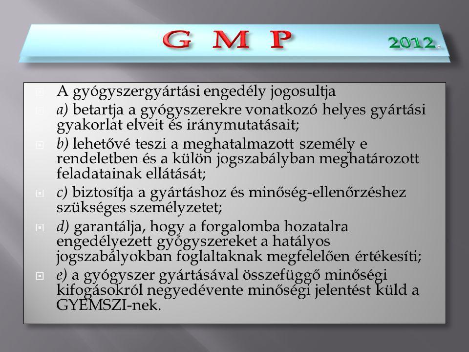 G M P 2012. G M P A gyógyszergyártási engedély jogosultja
