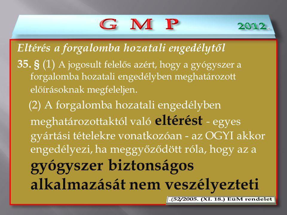 G M P 2012. G M P Eltérés a forgalomba hozatali engedélytől