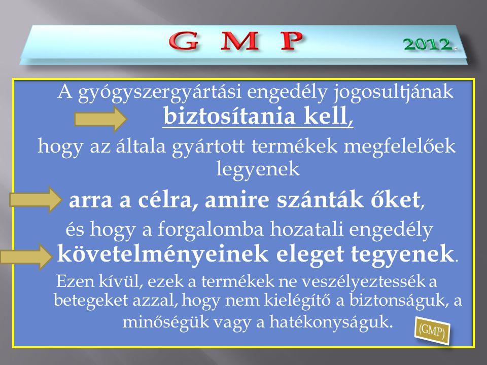 G M P 2012. G M P arra a célra, amire szánták őket,