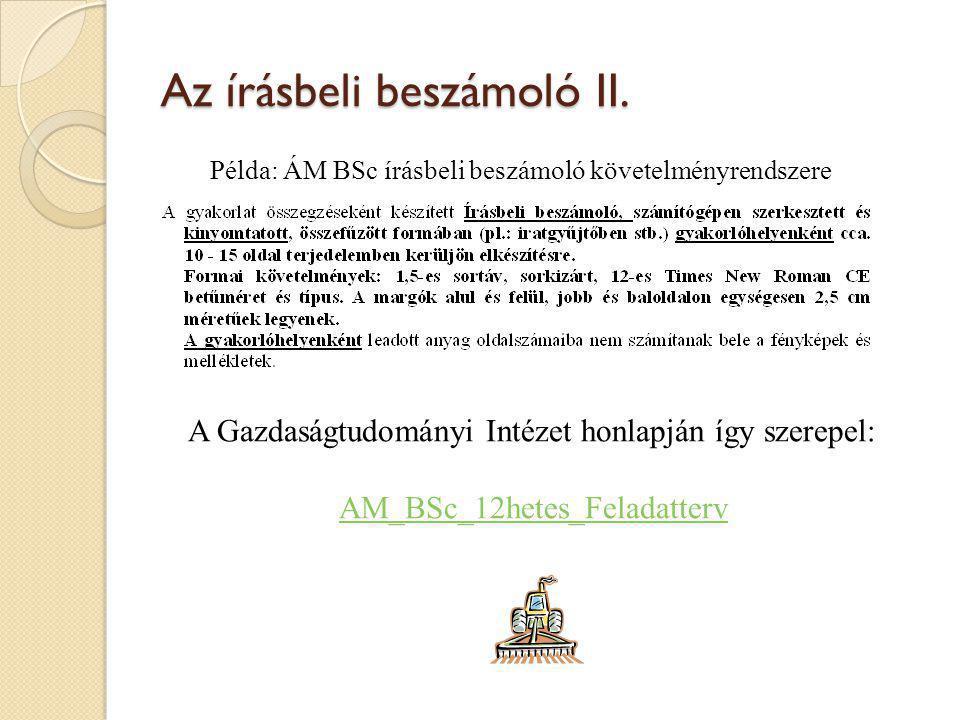 Az írásbeli beszámoló II.