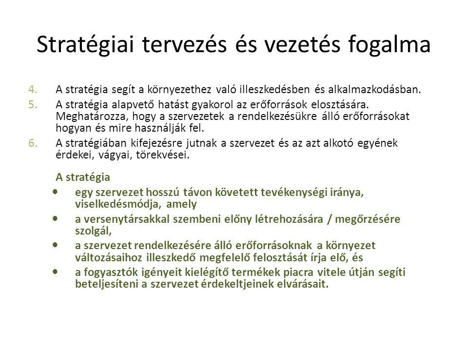 Stratégiai tervezés és vezetés fogalma