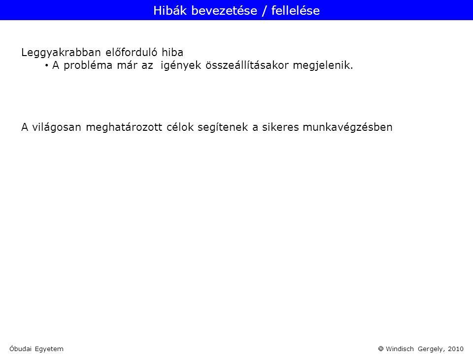 Hibák bevezetése / fellelése