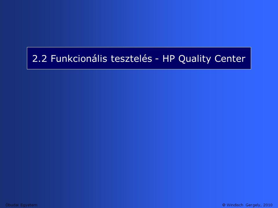 2.2 Funkcionális tesztelés - HP Quality Center