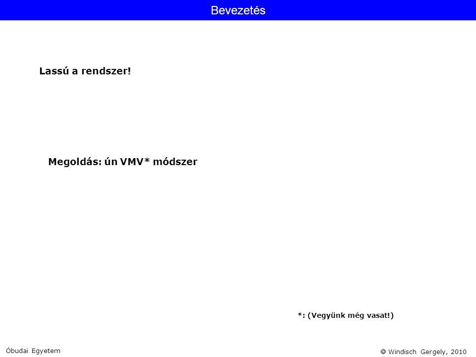 Bevezetés Lassú a rendszer! Megoldás: ún VMV* módszer