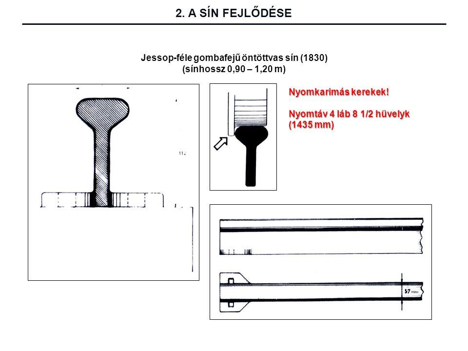 Jessop-féle gombafejű öntöttvas sín (1830) (sínhossz 0,90 – 1,20 m)