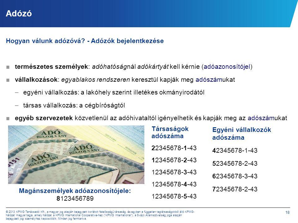 Adózó Forrás: NAV Évkönyv 2012