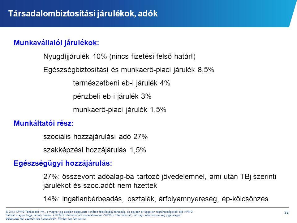 KPMG felmérés - Adók és járulékok összehasonlítása 2012.
