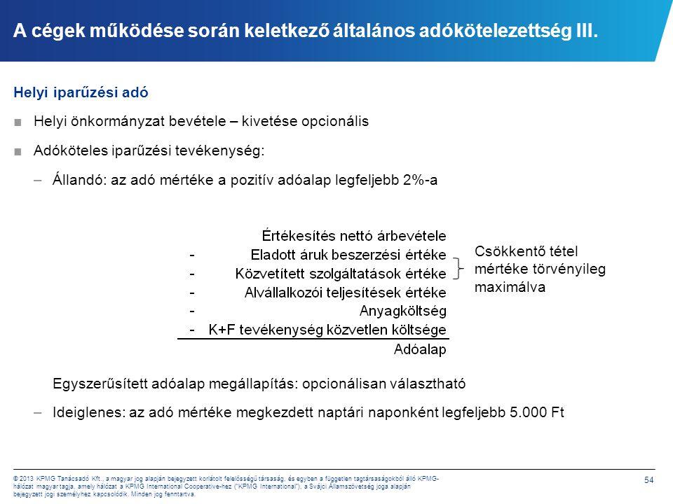 A cégek működése során keletkező általános adókötelezettség IV.