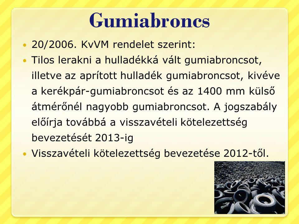 Gumiabroncs 20/2006. KvVM rendelet szerint: