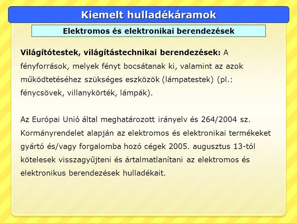Kiemelt hulladékáramok Elektromos és elektronikai berendezések