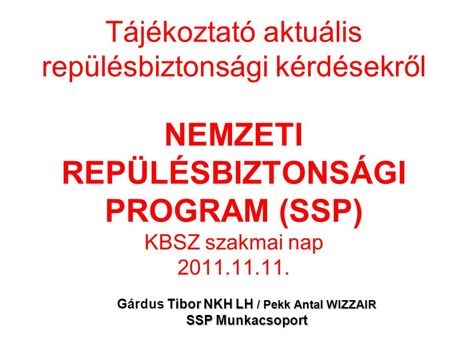 Gárdus Tibor NKH LH / Pekk Antal WIZZAIR SSP Munkacsoport