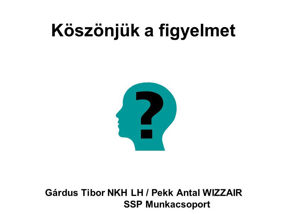 Köszönjük a figyelmet Gárdus Tibor NKH LH / Pekk Antal WIZZAIR