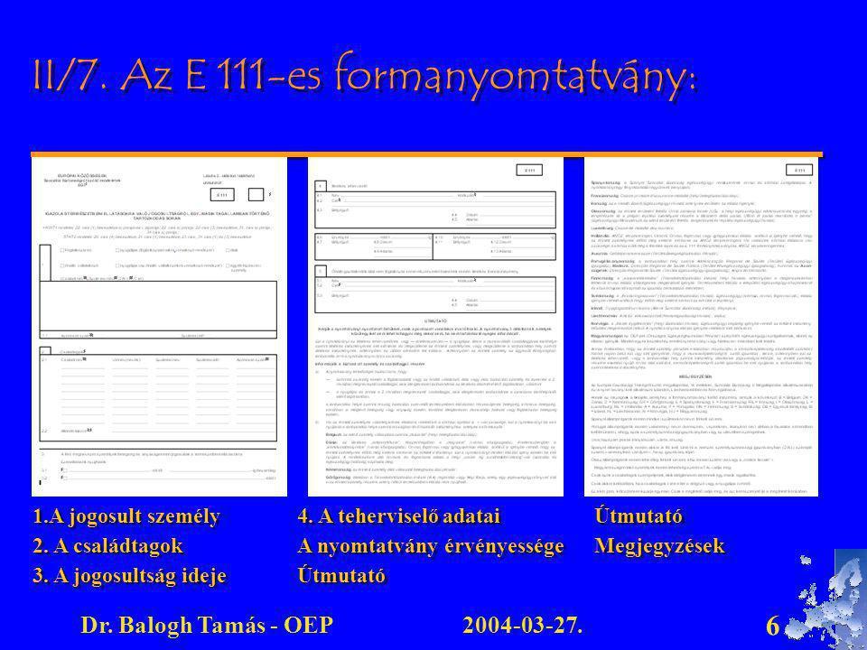 II/7. Az E 111-es formanyomtatvány: