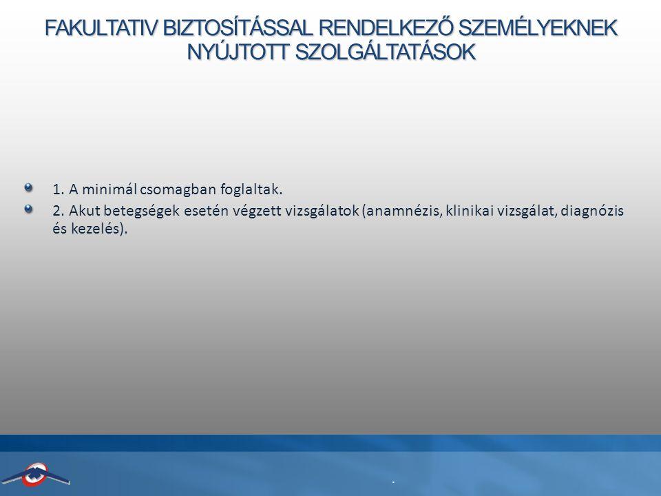 FAKULTATIV BIZTOSÍTÁSSAL RENDELKEZŐ SZEMÉLYEKNEK NYÚJTOTT SZOLGÁLTATÁSOK