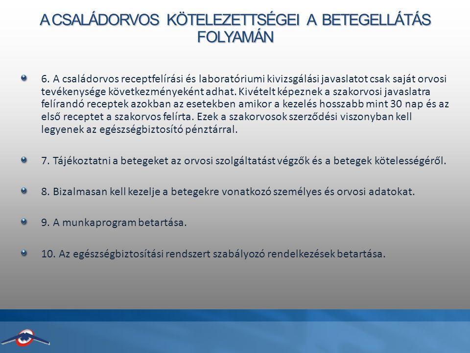 A CSALÁDORVOS KÖTELEZETTSÉGEI A BETEGELLÁTÁS FOLYAMÁN