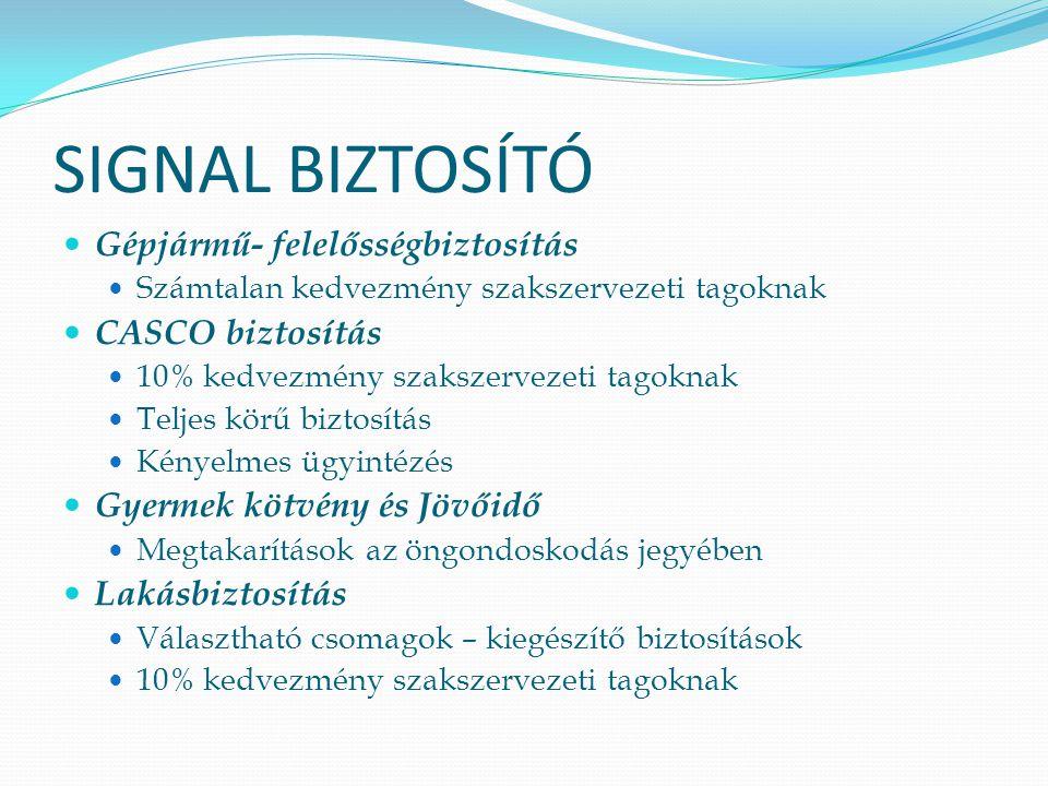 SIGNAL BIZTOSÍTÓ Gépjármű- felelősségbiztosítás CASCO biztosítás