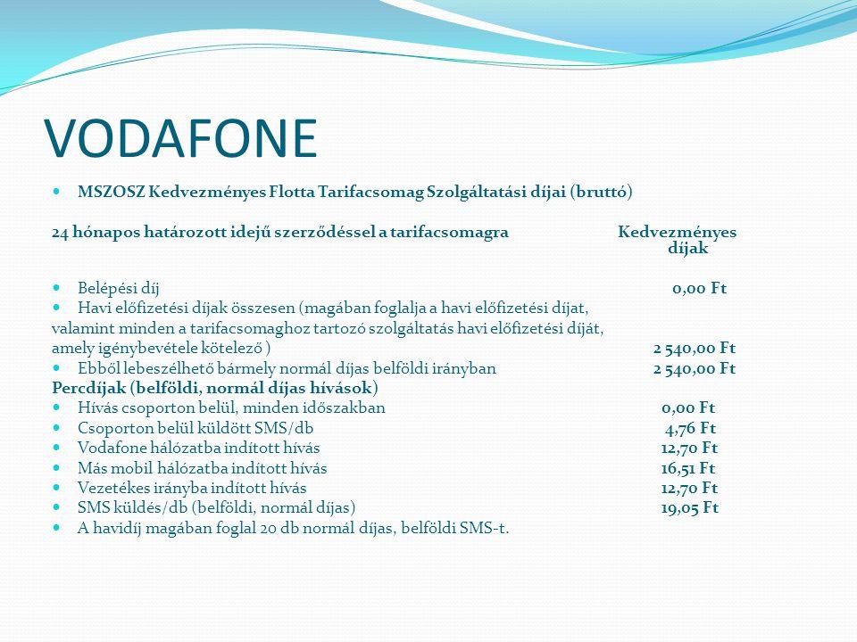 VODAFONE MSZOSZ Kedvezményes Flotta Tarifacsomag Szolgáltatási díjai (bruttó)