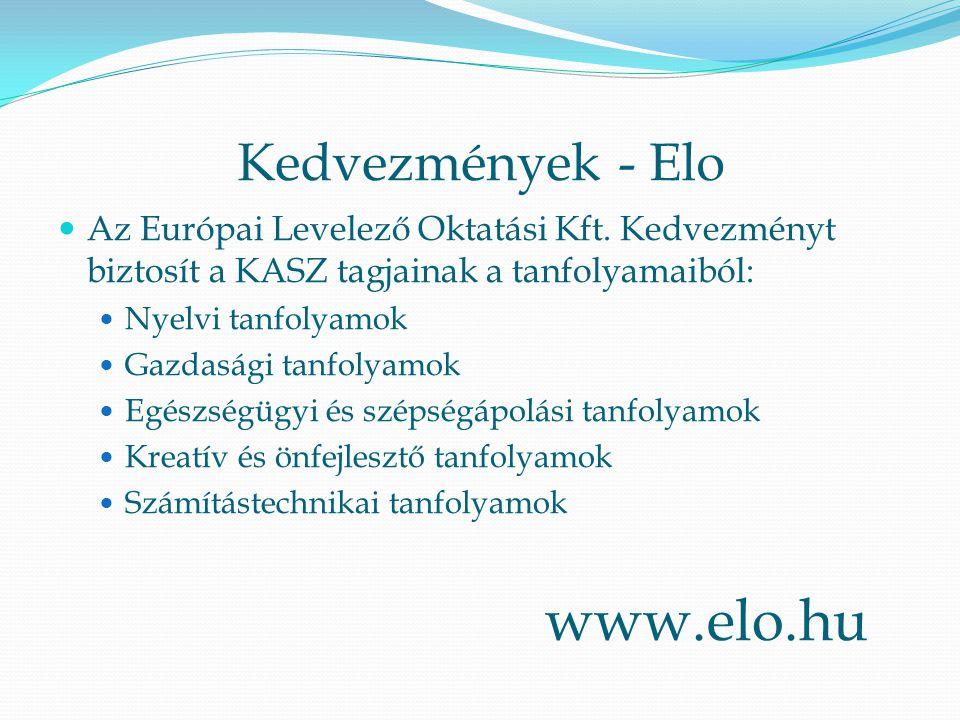 Kedvezmények - Elo Az Európai Levelező Oktatási Kft. Kedvezményt biztosít a KASZ tagjainak a tanfolyamaiból: