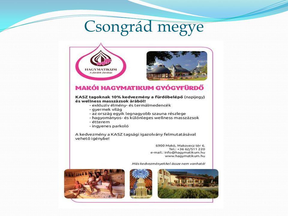 Csongrád megye Fürdőben a napijegyből10% kedvezmény illetve a wellnes masszázs árakból.