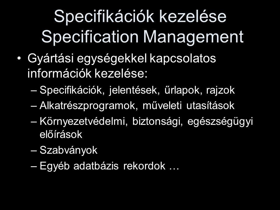 Specifikációk kezelése Specification Management